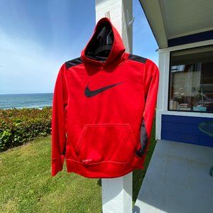 NIKE Red Dri-Fit Hoodie Huge Logo Medium
